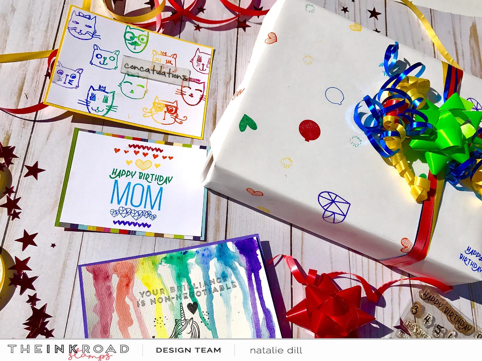 Rainbow cards and wrapping paper made using Ink Road stamps