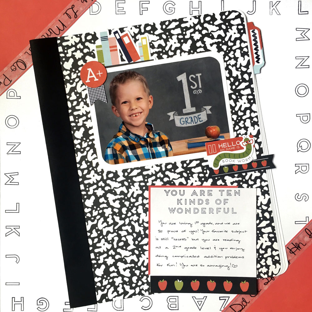 Hi Ink Road friends, Ali here! I have a super fun layout to share today. It is all about scrapping school photos! #fancypantsdesigns #takenote #schoolscrapping #scrapbook #scrapbooklayout #inkroadstamps #alphaborder