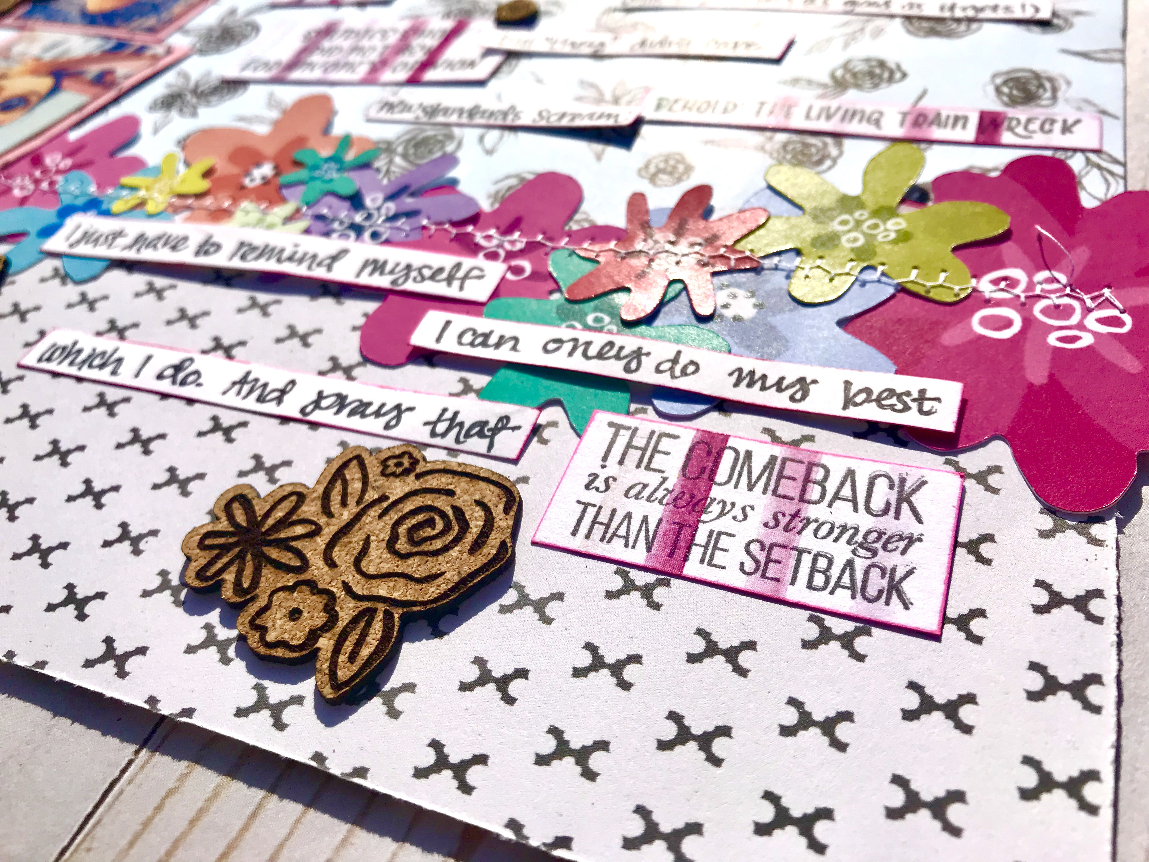 Use your stamp sentiments as journaling prompts to tell your story in your scrapbook! #storytelling #journaling #stamping