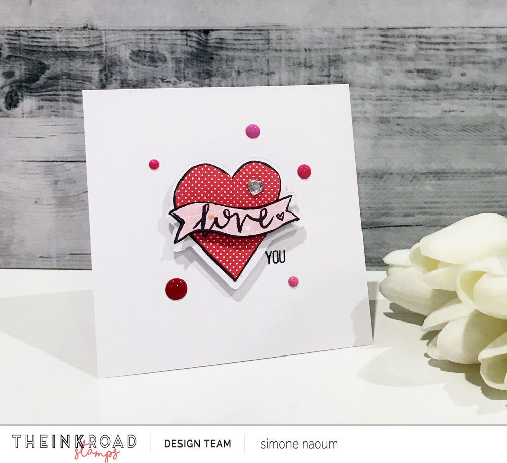 Find out how Simone created this Valentine's Day card using the heart from the Beautiful Mess stamp set and the masking technique!