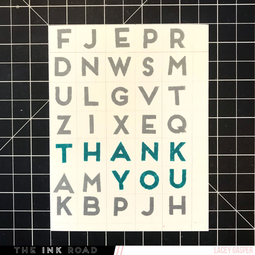 Word Find Card Stamped background